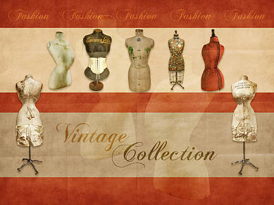 Digital Art - Vintage Fashion Mannequins - 01 by Variance Collections
