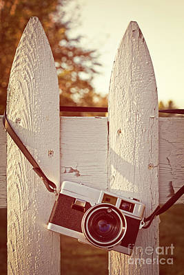 Vintage Film Camera On Picket Fence Art Print by Edward Fielding