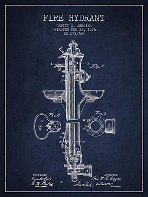 Fire Hydrants Drawing - Vintage Fire Hydrant Patent From 1876 by Aged Pixel