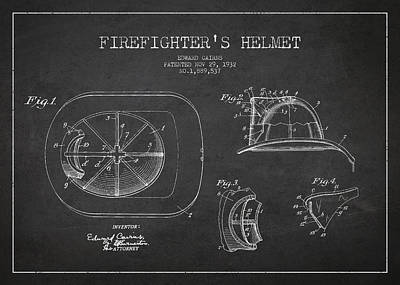 Dark Digital Art - Vintage Firefighter Helmet Patent Drawing From 1932 by Aged Pixel