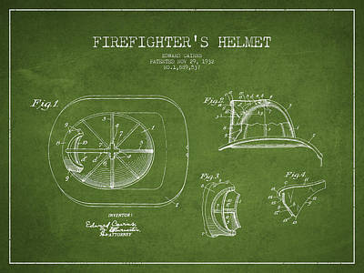 Vintage Firefighter Helmet Patent Drawing From 1932 - Green Art Print by Aged Pixel