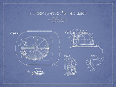 Digital Art - Vintage Firefighter Helmet Patent Drawing From 1932 - Light Blue by Aged Pixel