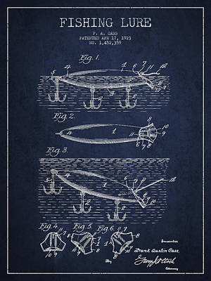 Fishing Bait Digital Art - Vintage Fishing Lure Patent Drawing From 1923 by Aged Pixel