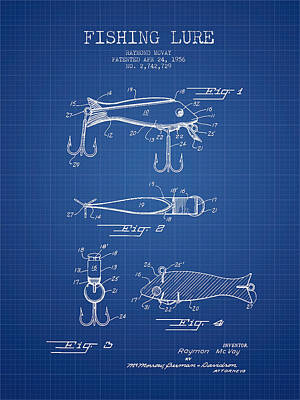 Catching Digital Art - Vintage Fishing Lure Patent From 1956 - Blueprint by Aged Pixel