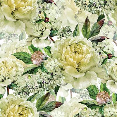 Digital Art - Vintage Floral Seamless Watercolor by Inna Sinano