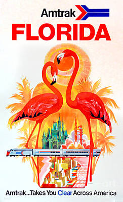 Flamingos Photograph - Vintage Florida Amtrak Travel Poster by Jon Neidert