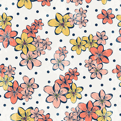 Beauty Wall Art - Digital Art - Vintage Flower Pattern Print For by Studio K