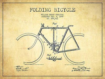 Transportation Digital Art - Vintage Folding Bicycle patent from 1898 - Vintage by Aged Pixel