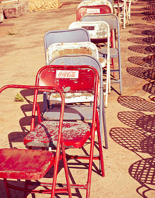 Folding Chair Photograph - Vintage Folding Chairs by Sonja Quintero