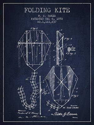 Kites Digital Art - Vintage Folding Kite Patent From 1892 by Aged Pixel