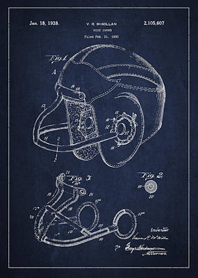 Sports Royalty-Free and Rights-Managed Images - Vintage Football Helment Patent Drawing from 1935 by Aged Pixel