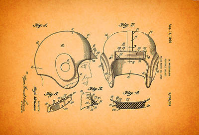 Authority Drawing - Vintage Football Helmet Patent 1956 by Mountain Dreams