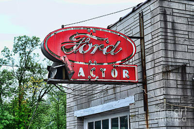 Vintage Ford Tractor Sign Art Print by Paul Ward
