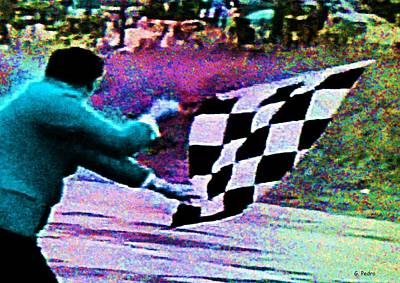 Photograph - Vintage Formula 1 Race Checkered Flag  by George Pedro