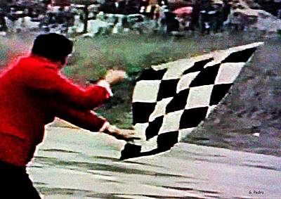 Photograph - Vintage Formula Race Checkered Flag by George Pedro