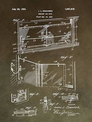 Vintage Freight Door Patent Art Print by Dan Sproul