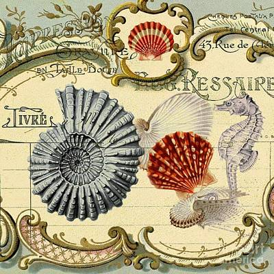 Surrealism Digital Art Rights Managed Images - Vintage French Botanical Art Sea Shells Seahorse Still Life Royalty-Free Image by Cranberry Sky