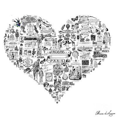Belle Epoque Digital Art - Vintage French Heart by Marion De Lauzun