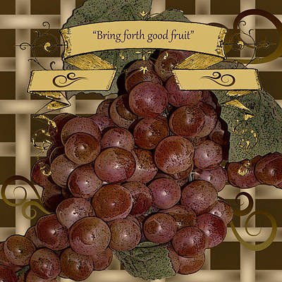 Digital Art - Vintage Fruit Of The Vine by TnBackroadsPhotos
