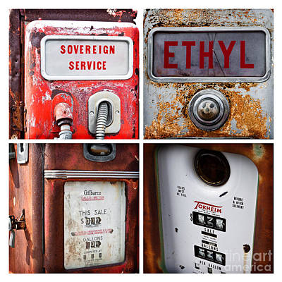 Vintage Fuel Pumps Collage Art Print