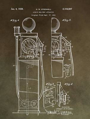 Antique Cars Mixed Media - Vintage Gas Pump Patent by Dan Sproul