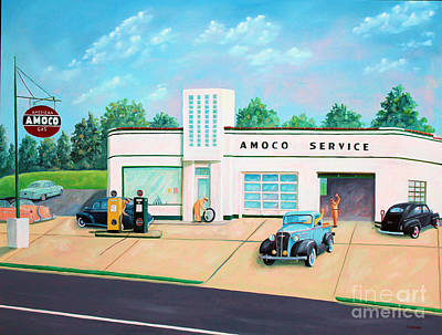 Service Station Painting - Vintage Gas Station by Todd Bandy
