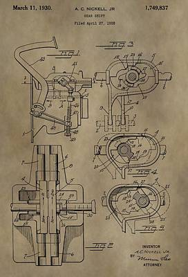 Truck Mixed Media - Vintage Gear Shift Patent by Dan Sproul