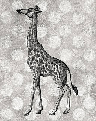 Gray Giraffe Art Print by Flo Karp