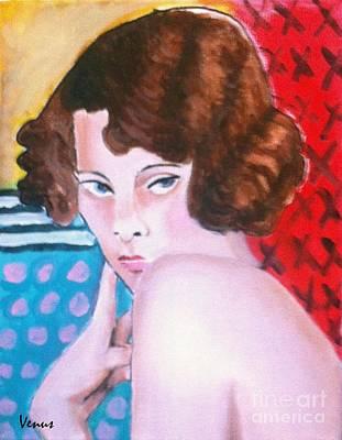 Surrealist Painter Mixed Media - Vintage Girl by Venus