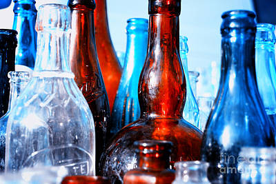 Drinks Photograph - Vintage Glass Bottles 2 by Sabine Jacobs