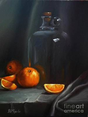 Glass Table Reflection Painting - Vintage Glass Jug And  Oranges by Viktoria K Majestic