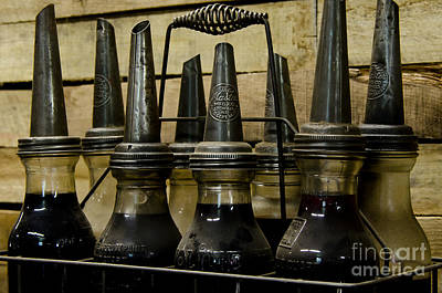 Photograph - Vintage Glass  Motor Oil Bottles by Wilma  Birdwell