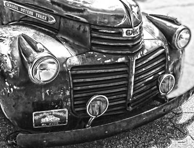 Photograph - Vintage Gm Truck Frontal Bw by Lesa Fine