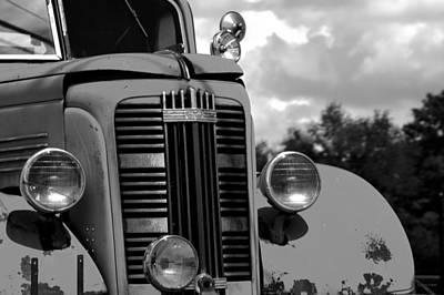 Vintage Truck Photograph - Vintage Gmc Fire Truck Bw by Lesa Fine