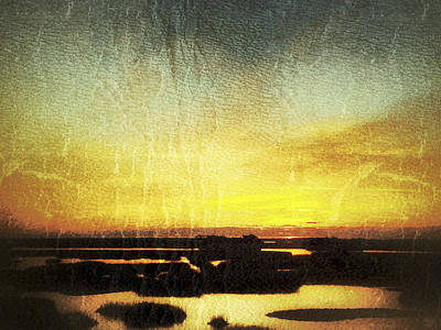 Photograph - Vintage Gold Sunrise Sunset Image Art by Jo Ann Tomaselli
