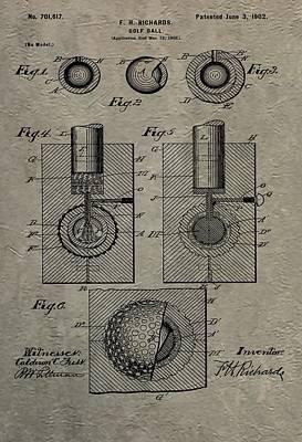 Bogie Digital Art - Vintage Golf Ball Patent by Dan Sproul