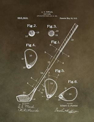 Golf Mixed Media - Vintage Golf Club Patent by Dan Sproul