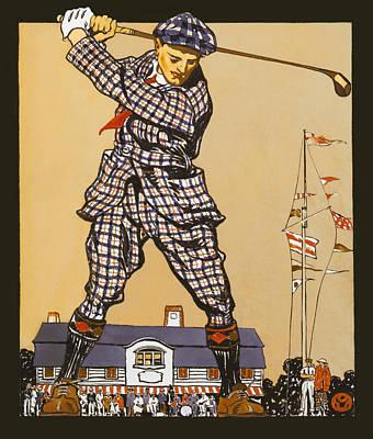Sports Bar Decor Painting - Vintage Golf Six by Big 88 Artworks