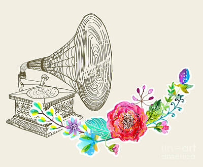Leisure Wall Art - Digital Art - Vintage Gramophone, Record Player by Jane mori