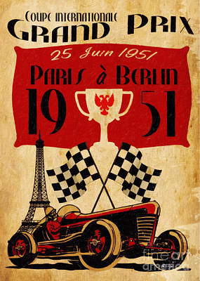 Vintage Grand Prix Paris Print by Cinema Photography