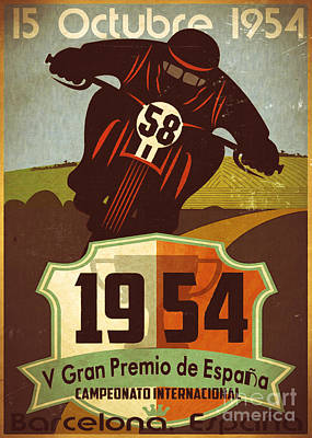 Vintage Grand Prix Spain Print by Cinema Photography