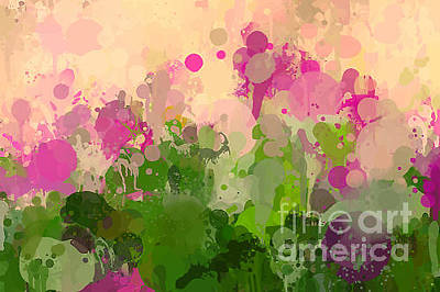 Flora Wall Art - Digital Art - Vintage Green And Purple Brush Strokes by Shekaka