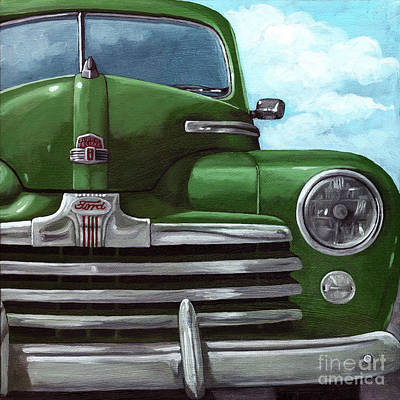 Vintage Green Ford Art Print by Linda Apple