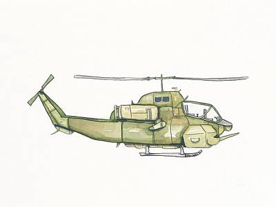 Vintage Green Helicopter Original by Annie Laurie
