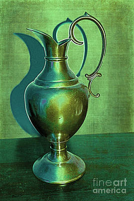Photograph - Vintage Green Pewter Pitcher by Nina Silver