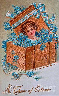Photograph - Vintage Greeting Card A Token Of Esteem by Valerie Garner