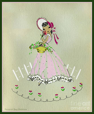 Vintage Greeting.  Girl With Basket Of Flowers In Pink Bonnet Art Print by Pierpont Bay Archives