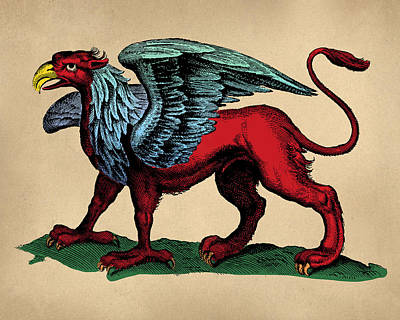 Vintage Griffin Tinted Woodcut Print by Flo Karp