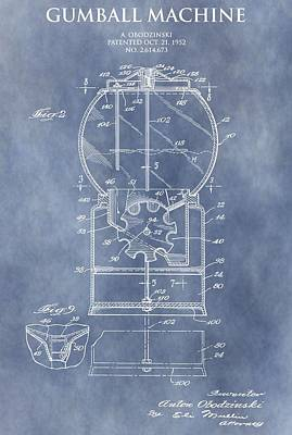 Candy Digital Art - Vintage Gumball Machine Patent by Dan Sproul