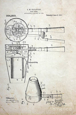 Barber Pole Photograph - Vintage Hair Dryer Patent by Paul Ward